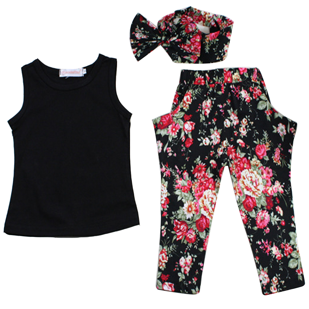 Hot Sale Baby Girl Clothes Set Cotton Casual Kids Clothing Suit Flower T-shirt + Pants Free Shipping<br><br>Aliexpress