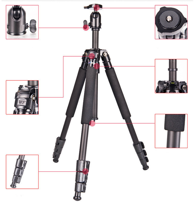 Free shipping WEIFENG WF3642B Aluminium portable travel photography professional camera tripods for slr stand photo monopod head<br><br>Aliexpress