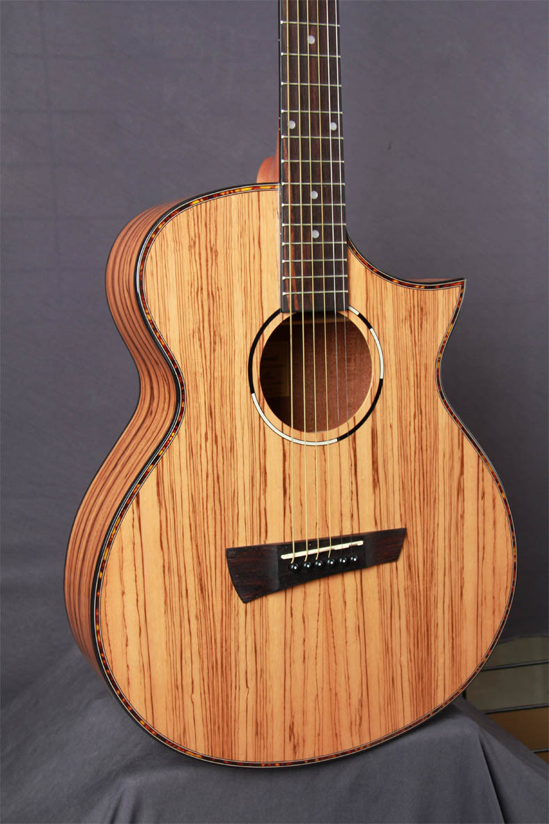 full zebra wood acoustic guitar with sharp cutway 40inch<br><br>Aliexpress