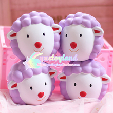 12cm Kawaii Animal Jumbo Squishy Kiibru Sheep Head Doll Phone Straps Charm Bread Scented Slow Rising Kid Toy Gift W/Packaging