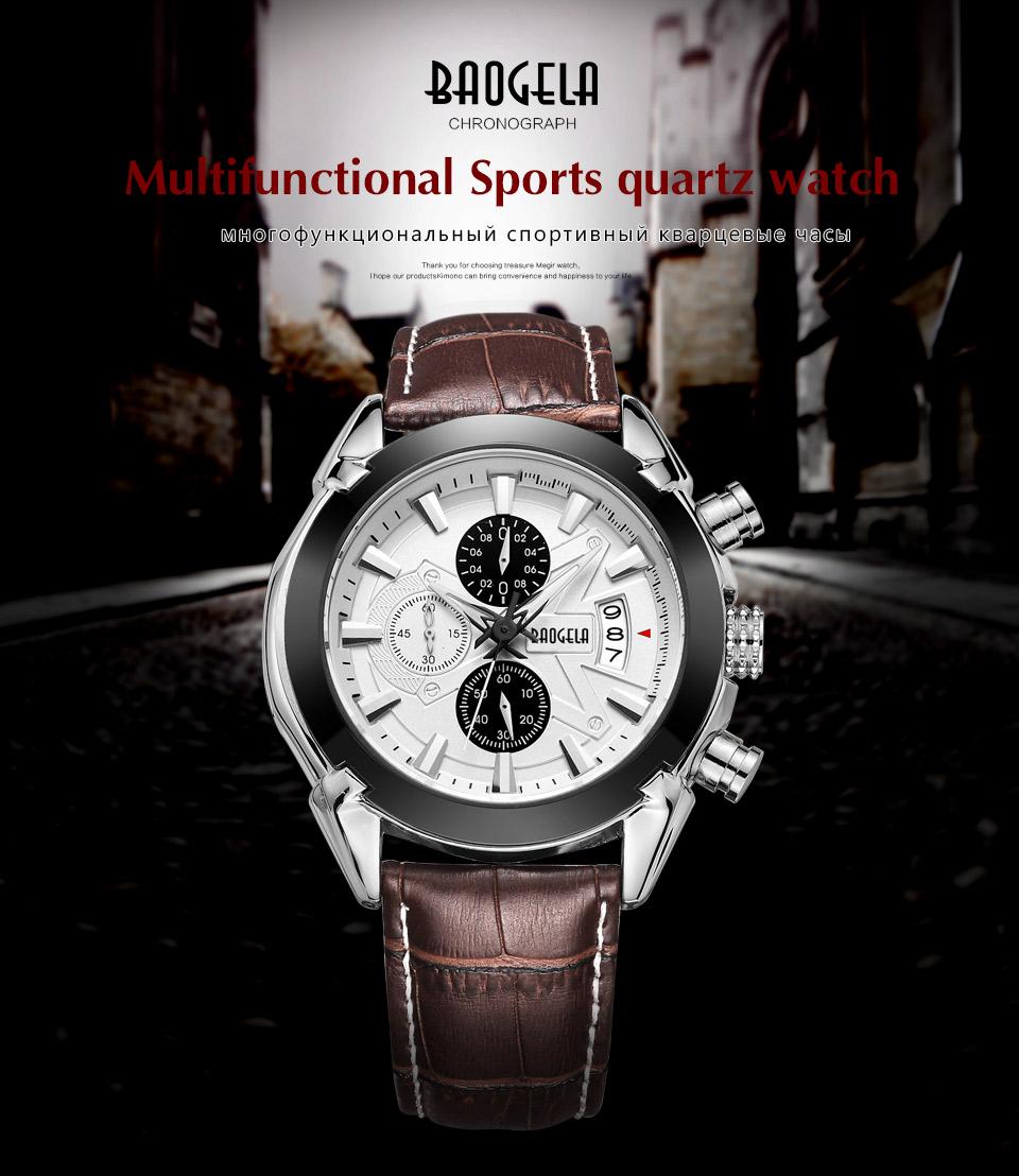 Baogela Mens Chronograph Luminous Hands Date Indicator Fashion Causal Leather Strap Sport Quartz Wrist Watches 1