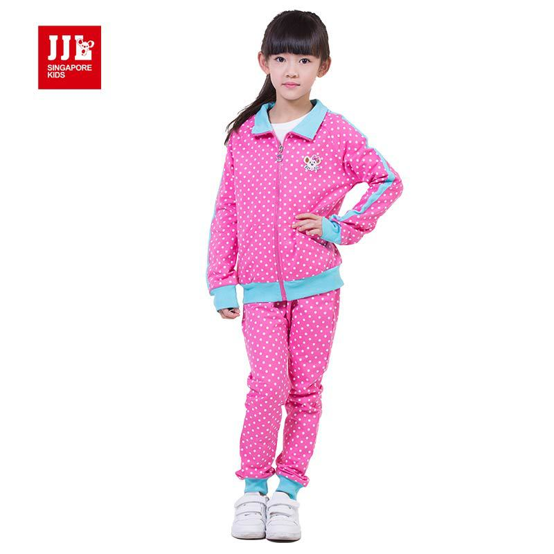 2015 new arrival kids clothes long sport suit 100%  high quality soft girl clothes polka dot pattern  turn-down collar design<br><br>Aliexpress