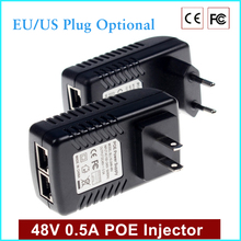 JOY Monitoring Cctv 48 V 0.5A 24 Watt POE Wall Plug Poe Injector Ethernet Adapter Ip Camera PoE Phone Power Supply US Eu plug
