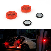 Universal 2 Pieces Car Door Warning Red Light Magnetic Induction LED Flashing Anti-collision Easy Installation No Wiring Hot