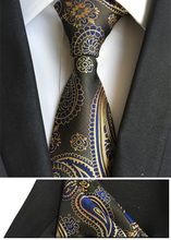 8cm Luxury Designer's Formal Ties Set Men's Meeting Party Necktie Royal Blue with Black Good Quality Woven Pocket Square(China)