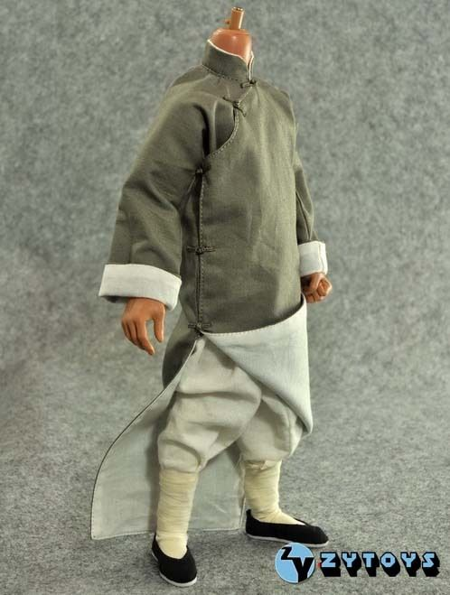 1/6 China Trational Male Gray Long Robe &amp; Costume Clothing Model Toys For 12 Action Figure Body   Collections<br>