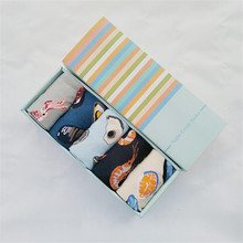 Recommend !! socks men funny gift box 5 pairs/lot fashion cotton animal socks men's and male long happy socks gift box(China)