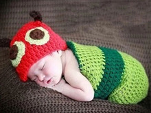 Caterpillar Design Crochet Pattern Baby Beanie Hat with Cocoon Set Infant Newborn Photography Props Costume H105