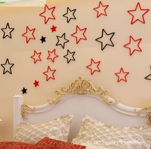 Five pointed star 3D three-dimensional decorative wall surface decoration of the new three-dimensional decorative wall art child(China)