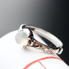 925 sterling silver set natural Moonstone Ring retro silver ring opening Ms.