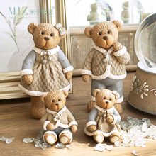Miz 4 Pieces Cute Resin Bear Family Collection Christmas Gifts for Families Christmas Decor Ornament(China)