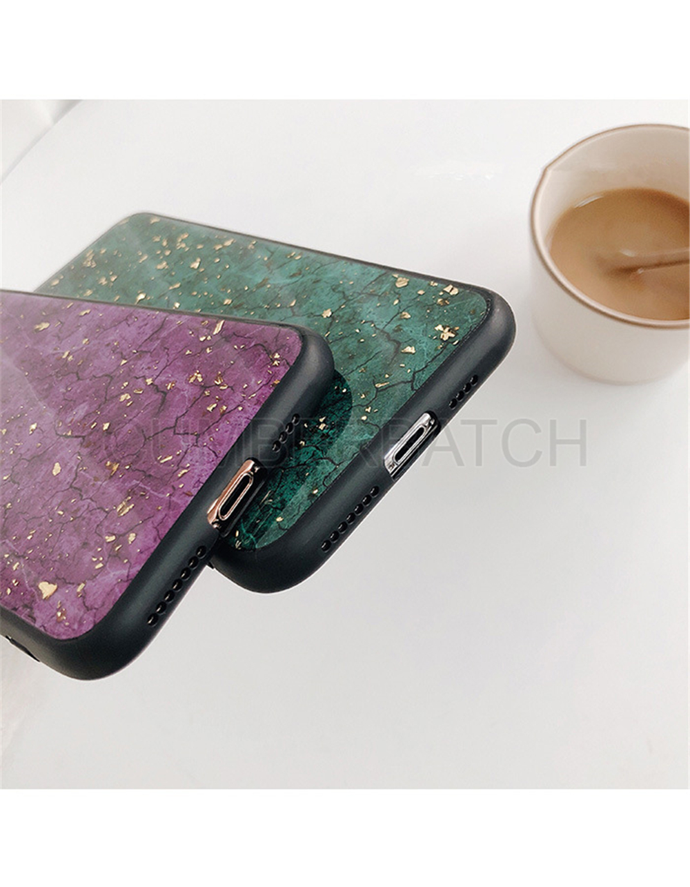 Luxury Green Diamond Crack Marble Phone Case For iphone 7 8 6 6s Plus Bee With Wing Funda cover for iphone XS MAX XR X back   (10)