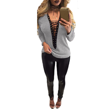 2017 New Fashion Women Lace Up T-Shirt Deep V-Neck Hollow Out Top Long Sleeve Eyelet Casual Basic Top Black/Grey/Burgundy/Green(China)