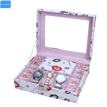 Women makeup organizer box DIY home storage desk case lock organization Jewelry watch strong colorful makeup storage holder box(China)