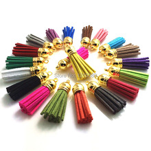 200Pcs/Lot High Quality 35mm Mixed Suede Leather Jewelry Tassel For Key Chains/ Cellphone Charms Handmade Jewelry Accessories
