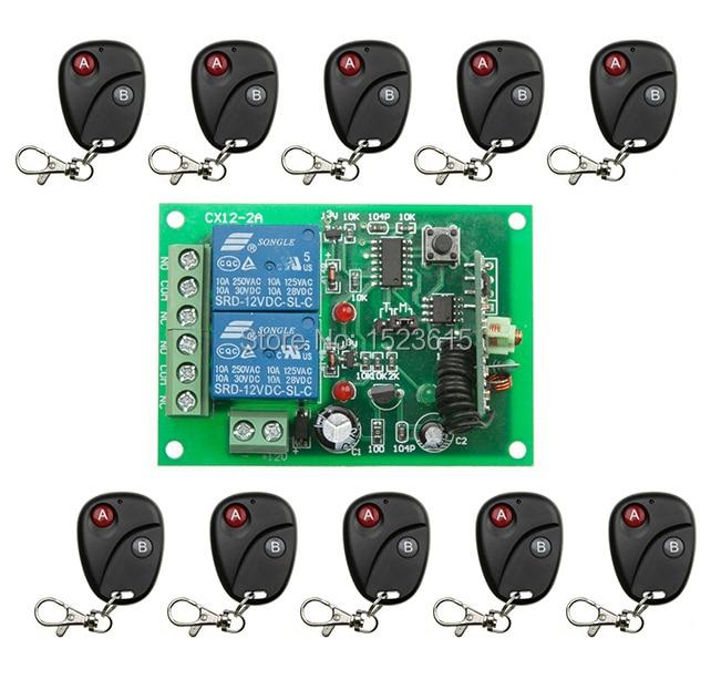 2016 New DC12V 2Channe RF wireless remote control switch System,10X Transmitter + 1 X Receiver,315/433 MHZ<br>