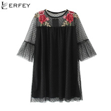 Buy LERFEY Black Flower Embroidery Mesh Dress Summer Elegant Casual Loose Flare Mini Sexy Dresses New Fashion Women Clothing for $13.77 in AliExpress store