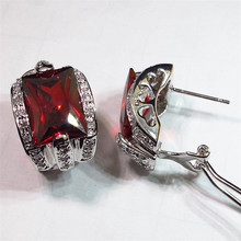 First class products Favourite Best Sellers Red Cubic Zirconia oblong Trendy Jewelry Beautiful Silver Plated Rock Earrings KR453