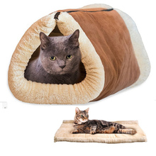 Kitty Shack 2 in 1 Tunnel Bed Mat Cat Mat Keep Warm And Snuggly Dog Cat Puppy Sleeping Bag PET005(China)