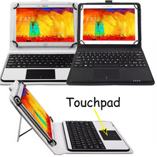 Detachable Wireless Bluetooth Keyboard With Touchpad+PU Leather Case Cover Stand For Galaxy Note 10.1 GT-N8000 N8010