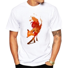 Latest 2017 men's fashion creative painted colorful fox t-shirt male funny tee shirts Hipster O-neck popular tops(China)