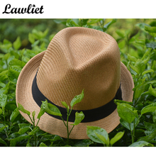 Women Sun Hat New Paper Straw Summer Fedora Hat Black Ribbon Cowboy Hat Wide Brim Casual Street Cap A112