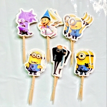 24pcs Event Party Supplies Cartoon Minions Cupcake Toppers Pick Funny little yellow man Boy Girl Kids Birthday Party Decoration