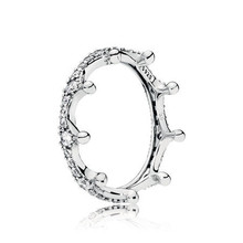 Authentic 925 Sterling Silver Original Enchanted Crown Pandora Ring With Clear CZ For Women Charm DIY Jewelry(China)