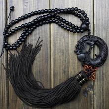 China Black Dragon Statue Beast Wood Carving Crafts Amulets Car Hanging Decoration Buddha sculpture Wooden Craft Beads(China)