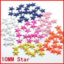 Mix color 10mm Star Shape 200pcs/lot 3D Punk style metallic decorations for clothing/shoes/bags Hot Fix Studs hot sale star15(China)