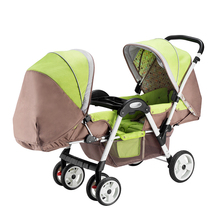 2017 High landscape Twins Baby Stroller Strong Steel Shockproof Newborn Trolley Portable Travel Folding Mutiple Baby pram(China)