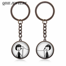 QIHE JEWELRY 2pcs/set Creative Phone Call Girl Charm Keychain Set Key Ring Sister Friends Chrismas Gift