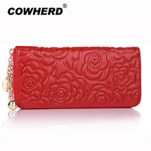 Lady Rose Flower Embossed Genuine Leather Wallet Luxury Famous Brand Female Bag Ladies Cute Women Purse metal ball zipper head