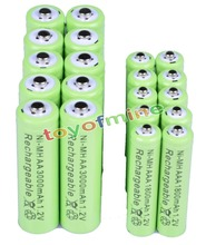 10x AA 3000mAh + 10x AAA 1800mAh 1.2V NiMH Green Color Rechargeable Battery Cell 2A 3A