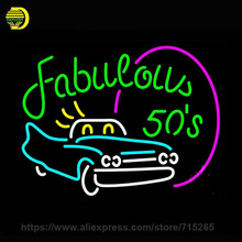 Neon Sign Fabulous 50s With Car Neon Light Sign Karoke Night Neon Bulb handcraft Glass Tube Lamp Commercial Light 24x31 VD(China)