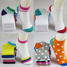 2017 5 Pair New Elastic Women Casual socks Solid Sock summer cotton socks Girls socks White Green Spring wear One Size  random