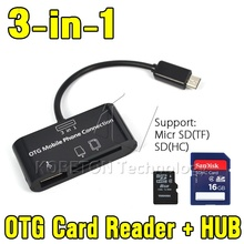2016 Hot Sale 3 in 1 OTG SDHC/SD/TF Card Reader Micro USB HUB Cable Adapter for Samsung Galaxy for HTC ONE for Sony Xperia