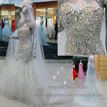 Real Picture Korean Crystal Rhinestone Wedding Dress Mermaid Sweetheart Bling Bridal Gowns Corset Back Court Train 2016 W1477
