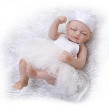 hot sale solid silicone reborn baby dolls wholesale lifelike baby soft princess lace dolls fashion doll Christmas birthday gift