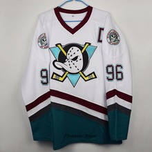 The Mighty Ducks Moive Charlie Conway White/Green/Purple Ice Hockey Jerseys Camisa