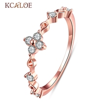 Victoria Jewelry Austrian Crystal White Flower Ring Plated Rose Gold Small For Women  Anillos De Compromiso Simple Ring Designs