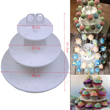 High Quality 3 Tiers Snack and Cake Server 21pcs Cupcake Stand 42pcs Lollipop Holder Display Stand White Round Assemble(China)