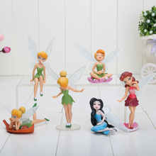 1Set 3~5''/5-10cm High Quality Tinkerbell Fairy Adorable Tinker Bell PVC Action Figures Toy Doll For Girls Gift 6pcs/set