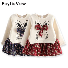 Girls Fleece Dresses Cartoon Rabbit Flower Dress Kids Bow Knot Appliques Clothes Children Princess Robe Wedding Party Vestido(China)