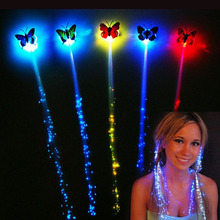 LED flash butterfly fiber braid party dance lighted up glow luminous hair extension rave halloween decor Christmas event favor(China)