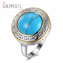 GNIMEGIL Brand Jewelry Women's Charm Turquoises Ring Round Shape Ring Blue Main Stone Wedding Bands Bright Ring for Ladies