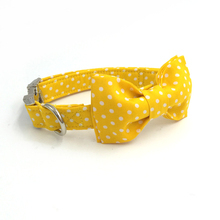 yellow dog collar  with bow tie  personal custom pet pupply designer product dog &cat necklace jewelry XS-XL