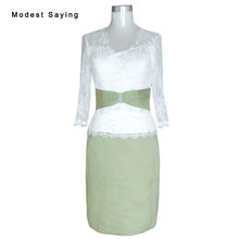 Elegant Ivory and Olive Green Sheath Beaded Lace Long Sleeve Mother of the  Bride Dresses 2017 a27629877741