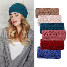 MISM 9 Colors Solid Warm Knit Elastic Headbands Wool Crochet Turban Hair Accessories Winter Women Stretch Wide Head Wraps Girls