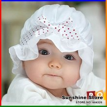 Sunshine store #2C2571 10pcs/lot 2 colors baby hat silk infant Bucket hat sun cap lace Dot With Bow girls princess beanies CPAM